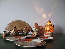 "Teeservice Japan ""Satsuma"" 2 Pers. aufgesetzter Drachen + Vase + Duftlampe"