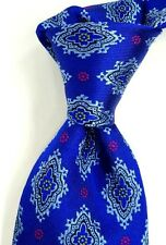 Charles Tyrwhitt Blue w/ Woven Teal & Gold Medallions Silk Neck Tie ITALY