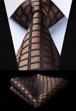 "Men Plaid Brown Check 3.4"" Silk Tie Party Wedding Handkerchief Set#TC715Z8S"