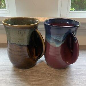 Neher Art Pottery Hand Warmer Coffee Tea Mug Cup Purple Blue Green SET of 2