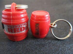 2 x Vintage Rare RED BARREL KEY RING Watneys Beer Advertising Breweriana