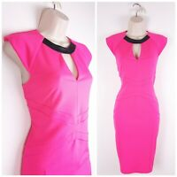 River Island Neon Pink Wiggle Dress UK12 PU Trim Party Evening