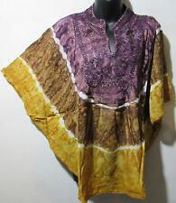 Top Fit XL 1X 2X 3X Plus Tunic Caftan Tie Dye Purple Gold Poncho Blouse NWT G78B