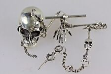 Cadena De Reloj De Plata Cráneo Esqueleto Steampunk Pirata Estilo Vintage vínculos de hueso
