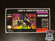 The Adventures of Batman & Robin Snes Replacement Game Label Sticker Precut
