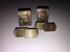 2 Pair Vintage Antique 9k / 10k Gold Cufflinks Art Deco HG&S & 1880 Victorian