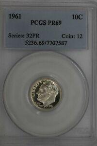 1961 .10  PCGS  PR69 SERIES:32PR COIN:12   Roosevelt Dime, Roosevelt Head 10C