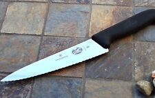 "Victorinox 7.5"" CHEF'S Knife Wavy Edge Black Fibrox Handle Kitchen Cutlery 40720"