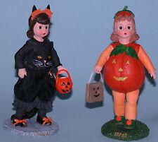 Madame Alexander resin doll figure, Trick & Treat set of 2 black cat & pumpkin