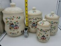Set of 4 Vintage Ceramic Canister  Houses and Animals