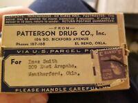 Patterson Drug  box pharmacy El Reno Oklahoma vintage pharmacist