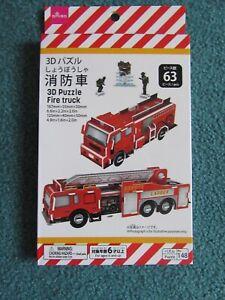 3D Plastic Fire Truck Puzzle (63 pieces)