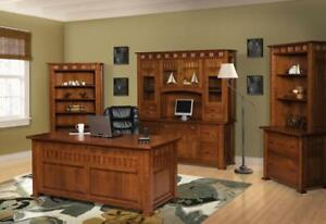 Luxury 6-Pc Set Amish Mission Arts & Crafts Executive Desk Keystone Solid Wood