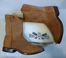 DOUBLE RL & CO RALPH LAUREN ROPER ROUGHOUT TAN SUEDE COWBOY BOOT SZ 12D USA MADE