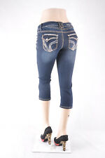 "New ""Aryia"" Junior & Plus Stretch denim Capri Jeans Dark Denim wash WG-495"
