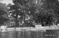 Sandy Pond New York~Cottages~Beach Front Boats~Gasoline Pumps~1940s B&W Postcard