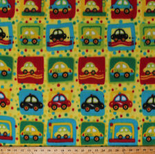 Cars Taxis Taxi Cabs Vehicles Squares Kids Yellow Fleece Fabric Print A333.07