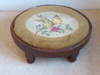 Antique Wooden Oval Foot Stool With Wool work upholstered top.