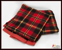 Vintage 60s Pair Set 2 Twin Red Black White Plaid Wool Camp Blankets NICE!