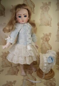 """Silk Dress & Hat for 16""""(41cm) French or German Antique or Reproduction Doll."""