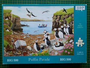 HOP BIG 500 Piece Complete Jigsaw Puzzle 'Puffin Parade' Grange Collection