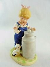 "Homeco Denim Days ""Morning Chores"" Girl with Cat & Milk Figurine 1985 # 1501"