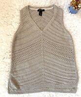 WHITE HOUSE BLACK MARKET sleeveless sweater top size L Gold Knit