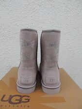 UGG OYSTER GREY CLASSIC CRYSTAL BOW BLING SHEEPSKIN BOOTS, US 7/ EUR 38 ~NEW