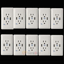 10Packs Dual USB Port Wall Socket Charger AC Power Receptacle Outlet Plate Panel