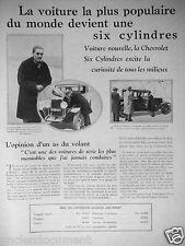 PUBLICITÉ 1929 VOITURE CHEVROLET SIX CYLINDRES EXITE LA CURIOSITÉ
