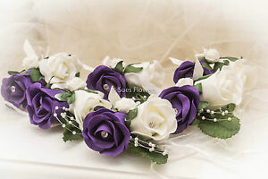 6 Luxury Double Buttonholes in Purple and Ivory