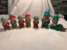 Vintage Lot of 7 Dickson Japan Gnomes Pixie Elves Green Red Figurines Elf