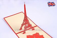 Eiffel Tower 3D Pop Up Greeting Handmade Kirigami Card All Occasion PARIS FRANCE