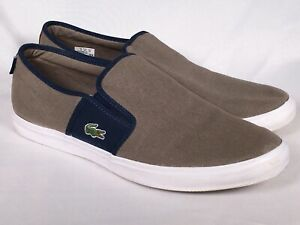 Lacoste Men's Gazon Sport SEP Slip-On Canvas Sneaker Shoes Lt Brown/Dk Blue 13 M