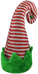 Adult Christmas Green Red White Striped Elf Hat Bell Santas Helper Costume