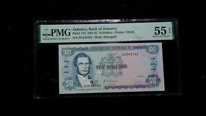 1991-92 TEN DOLLARS PMG AU55 EPQ BANK OF JAMAICA $10 NOTE BUY IT NOW!