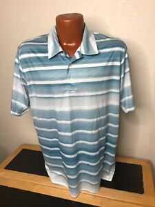 Mens Adidas Climacool S/S Polo/Golf Shirt Size Medium (M) Striped - Polyester