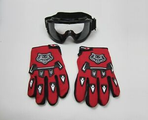 Knighthood Clean Lens Safety Goggle & Gloves Off Road ATV Dirt Bike Motorcycle