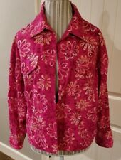 New Direction Pink Flowered Sequined Super Cute Jacket-Large (N1)