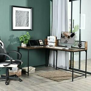 L-Shaped Corner Desk (165 x 110cm) Home Office, Industrial Style Gaming Desk