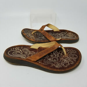 Brown Leather Embroidery Slip On Flat Thong Sandal Slides Women Size 7 W
