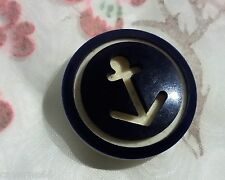 COLLECTION ANCIEN BOUTON ancre de marine EN CREU BLEU BLANC 28 mm CO4