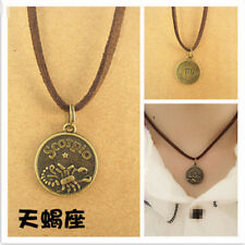 Scorpio Charm Leather Choker Necklace Zodiac Sign Pendant Jewelry Birthday Gift