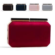Ladies Satin Box Clutch Bag Clasp Hard Evening Bag Wedding Handbag Purse KZ2334