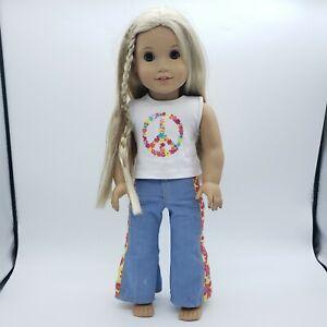 "American Girl Doll Blonde Hair Brown Eyes Julie Albright 18"" w/ Meet Outfit"