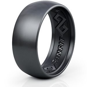 Silicone Wedding Ring for Men -Step Edge Collection by Rinfit. Soft rubber bands