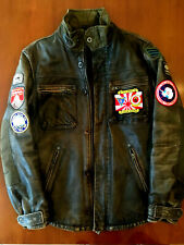 Leather jacket expedition mountain patched napapijri size M