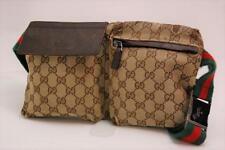 Auth Gucci GG Canvas Monogram Waist Belt Bum Bag Fanny Pack Shelly Brown 711a