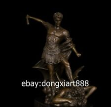 34 CM Western Art Deco Bronze Greek mythology Man War God Evil spirit Sculpture