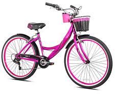 "26"" Women's Cruiser Bike Adult Beach Bicycle 7 Speed Steel Outdoor Ride Hot Pink"